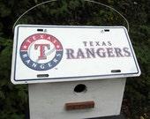 Texas Rangers License Plate Birdhouse White Fully Functional MLB