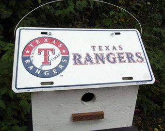 Texas Rangers License Plate Birdhouse White Fully Functional MLB