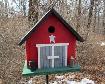 Birdhouse Country Double Door Barn Birdhouse Black Drum Beer Can