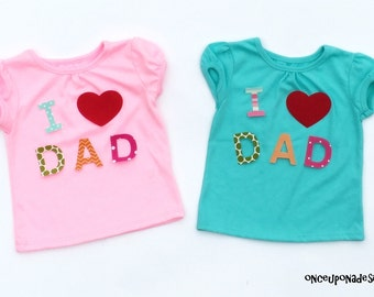 I Heart  DAD ...Fabric Iron On Appliques ...New Dad...Father's Day...Any Day
