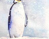 Emperor penguin painting