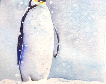 Emperor penguin painting