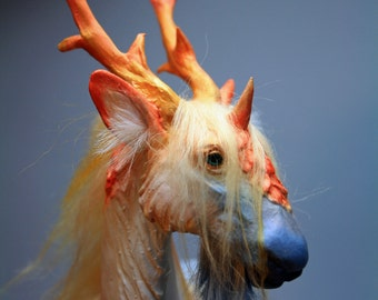 "OOAK Fantasy Kirin Ki Rin Colorful Unicorn Sculpture ""Nimbus"" by Quequinox Art"