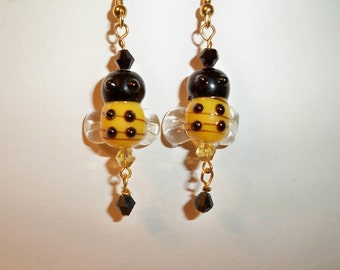 Honey Bee Earrings with Yellow & Black Glass Bee Beads and Black Crystal Dangles