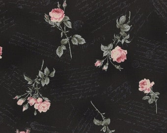 CIJ SALE Antique Rose Black with Pink Floral Flowers Roses and Script Writing Designer Quilting Sewing Fabric by Lecien - 1/2 Yard
