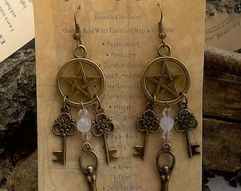 Goddess Pentacle  Key Earrings