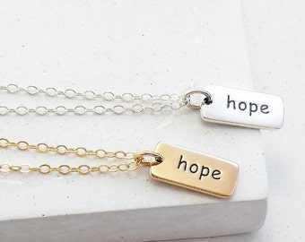 Inspirational Word Necklace | Hope Necklace | Hope Charm | Inspirational Gift | Cancer Awareness | Silver or Gold