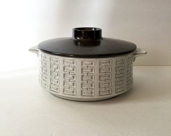 MCM West German Pottery Serving Dish White Glaze Over Incised Clay