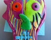 Sugar Skull Pin with Striped Glittery Face