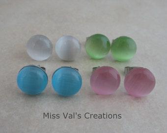 cats eye earring studs set blue pink green white