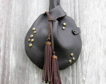 Dark Brown Gran Torino Leather Wristlet (available with or without tassels) by Stacy Leigh Ready to Ship