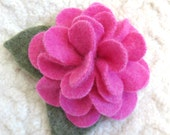 Pink Peony Brooch - Bright Pink Cashmere, Recycled Sweater Wool Flower Pin