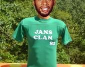 vintage 70s tee shirt JAN'S CLAN football jersey yoke green t-shirt kid's XL adult Small xs 80s flock wtf
