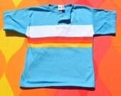 70s vintage kids t-shirt STRIPES rainbow surf billy the kid henley youth 8 Medium 80s