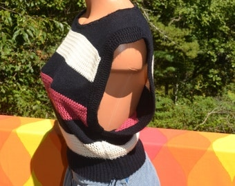 vintage 70s sleeveless sweater tank top vest STRIPES soft open sides women's Small cristin stevens