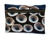 Clutch purse, zipper bag, for her, pouch, original print, BLUE CIRCLES