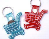 Key chain shopping cart quarter holder Glitter Vinyl Keyring Key Fob