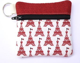 Mini zipper pouch fits earbuds, essential oils, USB, Square reader case Paris Eiffel Tower Fabric Coin purse Key chain
