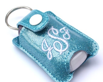 Personalized Monogram keychain fits new BBW hand sanitizer holder monogrammed glitter vinyl custom keychain