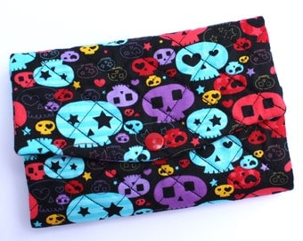 Trifold womens wallet clutch fits checkbook, iPhone 6 cute colorful skulls fabric