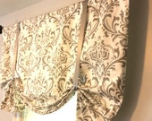 Faux Fake Roman Shade - Butterfly Valance -Tie up Valance - Window Topper - Traditions Storm Gray - White or Beige Cloud Linen -Choose Color