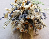 Custom Brides or Bridesmaid Bouquet Daisies and Dried Blue Lavender, Fern, Oats, Wheat wrapped with Daisy Lace Applique' Hemp Twine  Ribbon