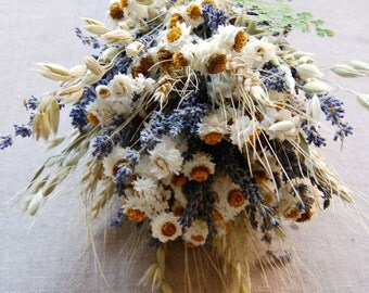 Summer White Custom Brides Bridesmaid Bouquet Daisies Dried Blue Lavender, Fern, Oats, Wheat wrapped with Lace Boho Natural Rustic Weddings