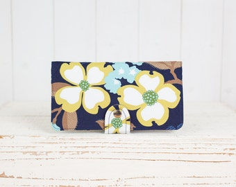 Handmade Wallet - BiFold Clutch Wallet  / Dogwood Bloom in Indigo Blue -- Ready to Ship