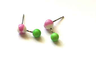 Purple and Green Stud Earrings | Geo Drop Earrings | vintage lucite mod drop lucite studs
