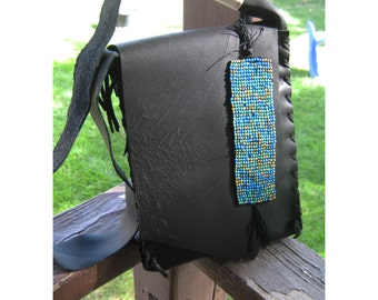 Back In Black Pouch - Black Leather - Hand Built - Beaded Accent