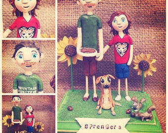 Custom Couple and one dog personalized folk art clay sculptures on base based on photos