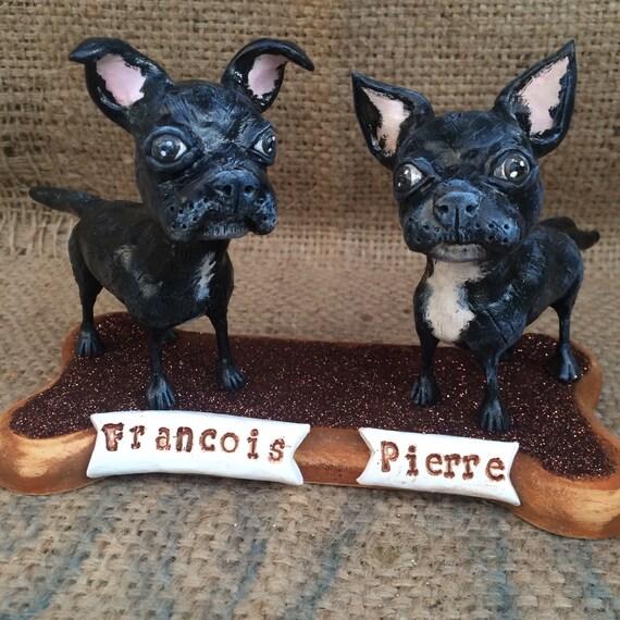 Two Customized Pet Dogs clay folk art sculpture on Wooden  Bone Base Pet Portrait