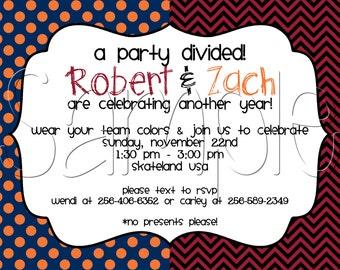 Printable Team Divided Birthday Party Invitation
