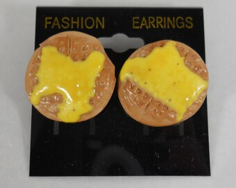 Waffles with butter food earrings - pierced Food Earrings