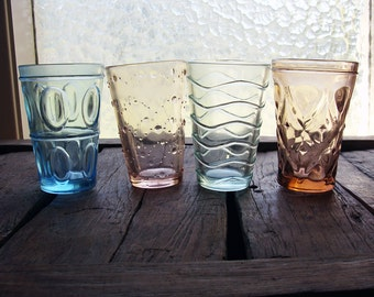 Set of Four Pressed Glass Colored Drinking Glasses
