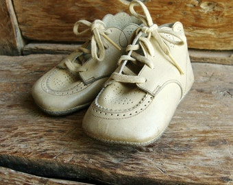 Pair of Vintage Leather Baby Shoes for Display