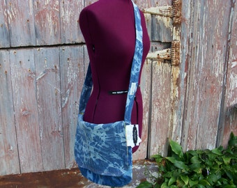 Upcycled Denim Messenger Bag Purse with Bright Yellow Floral Vintage Fabric Lining