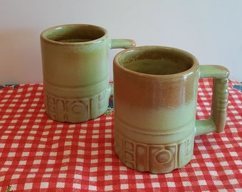 Pair Vintage Frankoma Aztec Red Clay Mugs C4