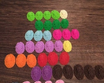 39 Colorful oval flower cabochon