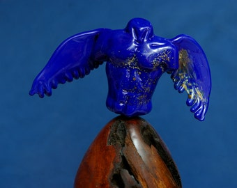 Blue Angel Sculpture Lampwork Glass by Cleo Dunsmore Buchanan 4 Grama Tortoise spiritual passionate fiery manly