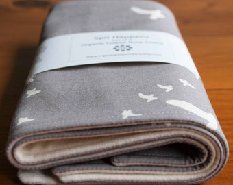 Organic Burp Cloth, Set of Two in FLIGHT in PEWTER; Grey and Ivory Bird, Flock, Woodland Burp Cloths Gift Set of 2 by Organic Quilt Company