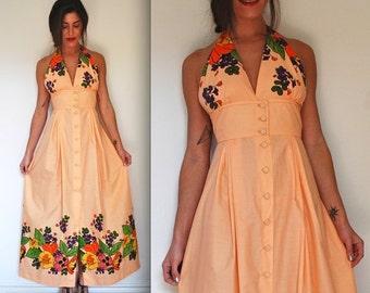 SUMMER SALE / 20% off Vintage 60s 70s Peach Floral Silk Screen Maxi Halter Dress (size small, medium)