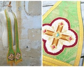 Antique 1900 French green silk brocade /handmade petit point /Clergy stole/vestment/religious