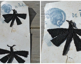 Vintage Antique 1880/1900 Victorian old French black mat beads  butterflys/adornment on original card