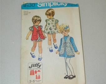 Vintage Simplicity Girls Jiffy Dress Pattern 9130 Size 4 11308