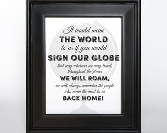 Sign our Globe Printable DIY Wedding Decor  8x10 and 11x14 Guest Book Alternative Sign