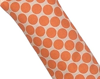 Rice Flax Heating Pad, Eye Pillow, Amy Butler Polka Dots Orange - Flaxseed Rice - Unscented, Scent, Sinus Blend