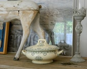 Shabby chic Choisy-le-roi soup tureen // earthenware Ironstone / light green pattern