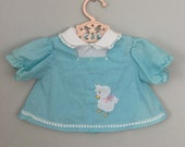 Vintage Baby Girls Blue Duck Embroidered Dress or Top 3-6 months