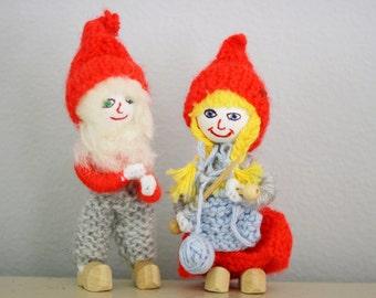 Vintage Handknit Handmade Tomte Christmas Elfs